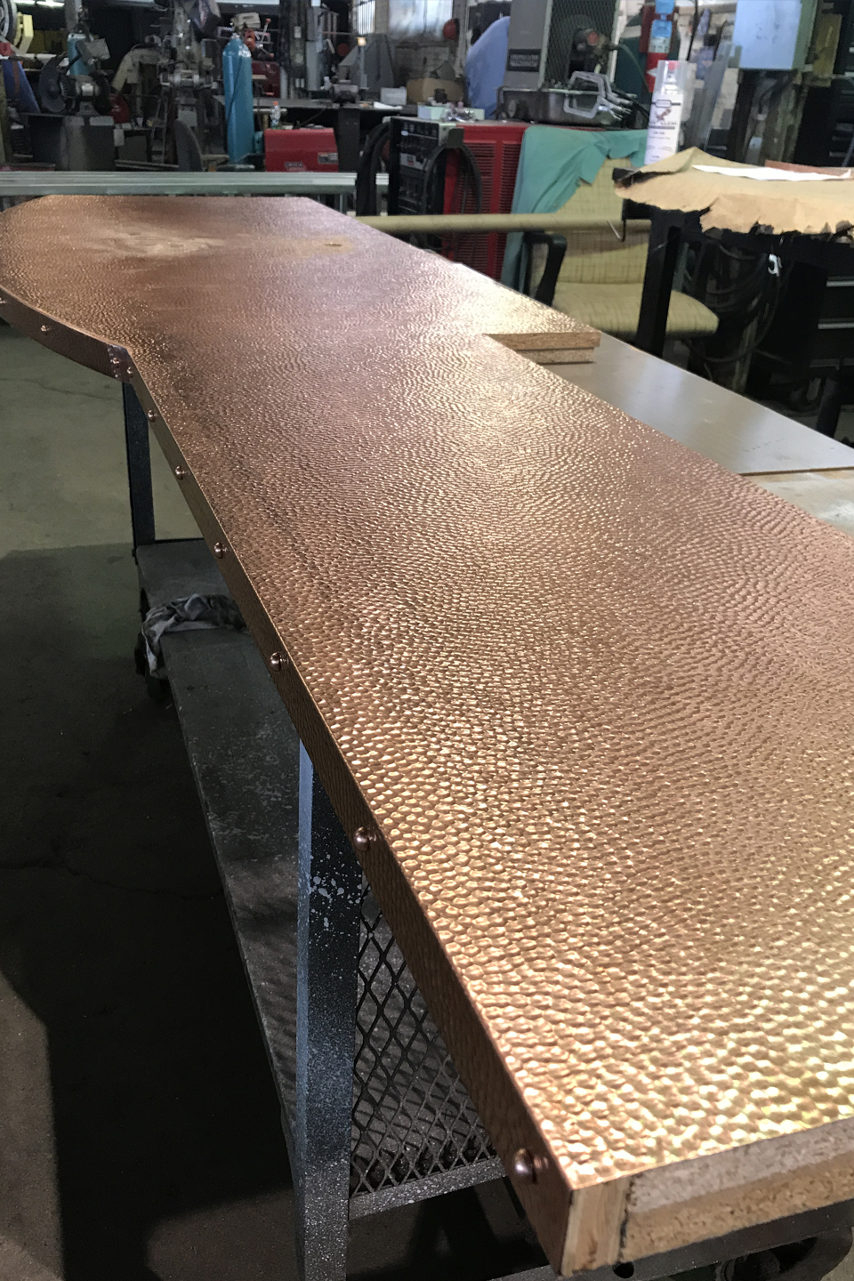 Custom Hammered Copper Vanity Top