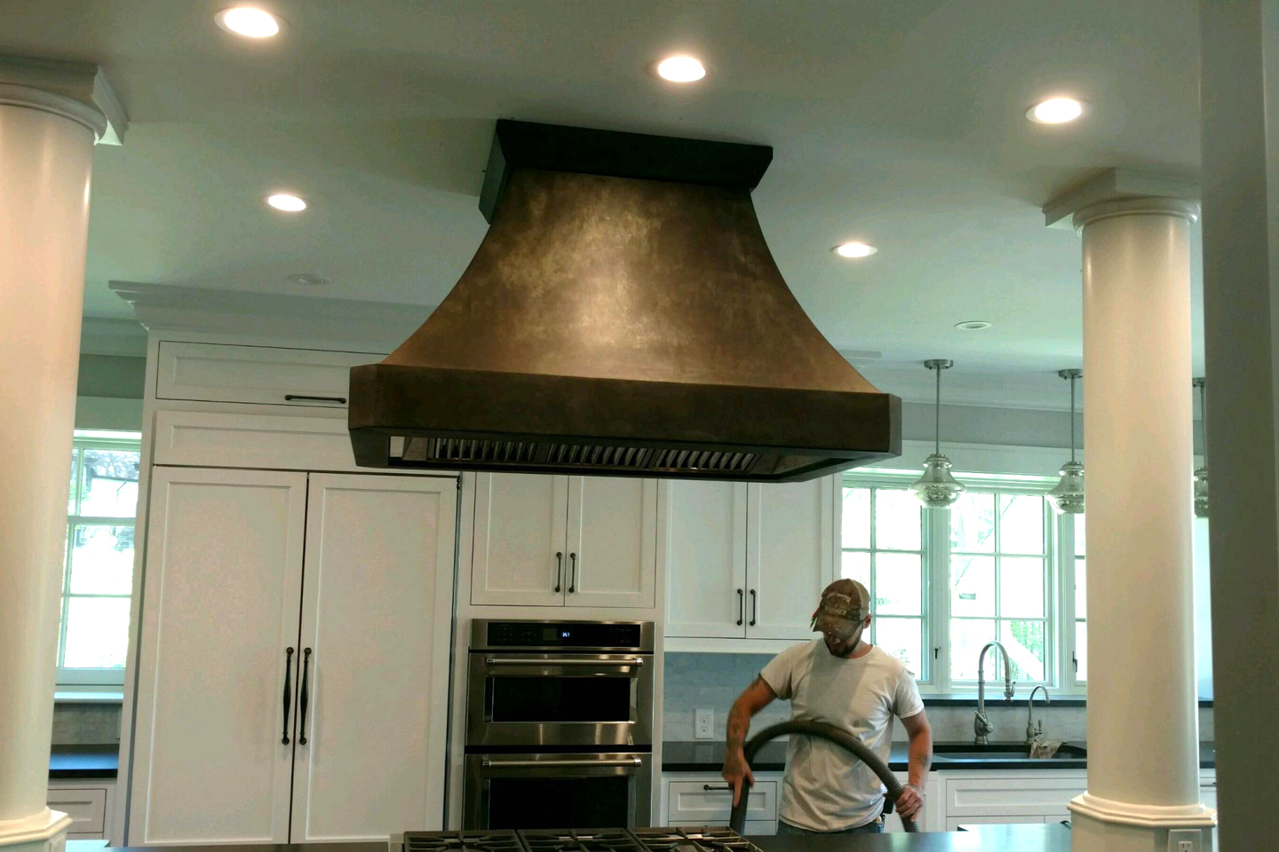 Antiqued Zinc Island Hood<